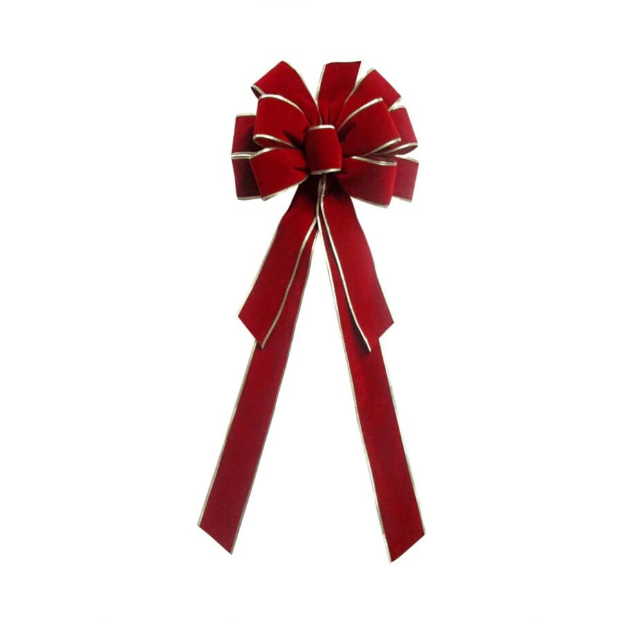 """ST. NICK'S CHOICE:11"""" x 29"""" Classic Red and Gold Velvet Bow"""