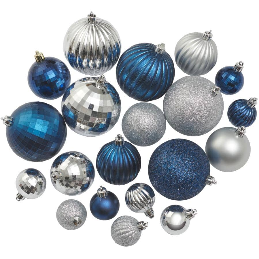 INSTYLE HOLIDAY:50 Pack Plastic Ornaments - Blue/Silver
