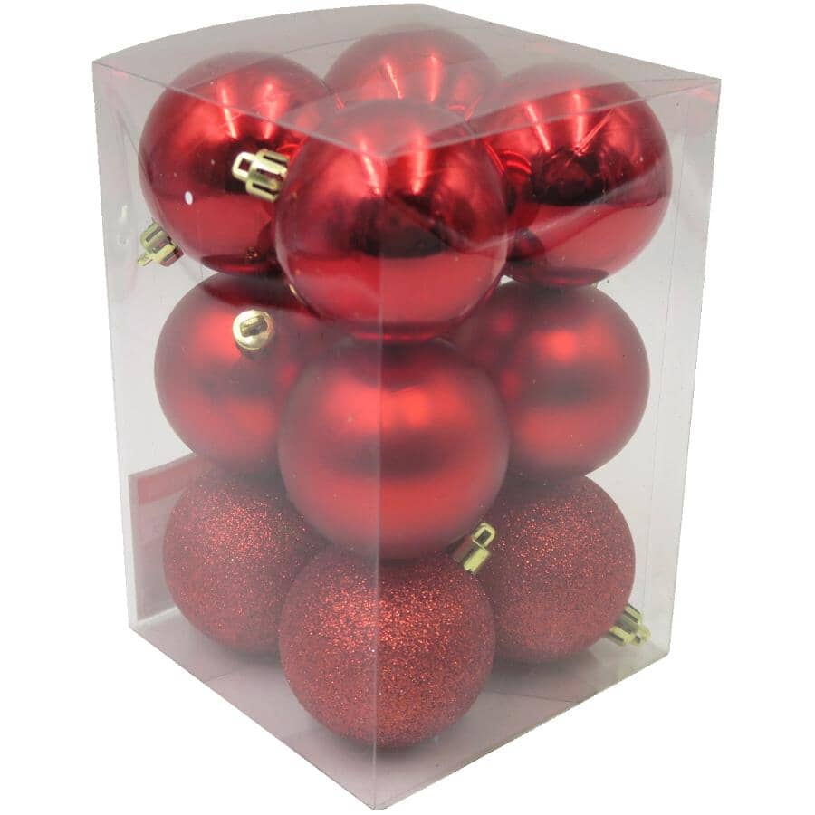 INSTYLE HOLIDAY:12 Pack 60mm Plastic Ornaments - Red