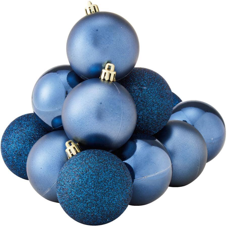 INSTYLE HOLIDAY:Paquet de 12 décorations de 60 mm en plastique, bleu foncé