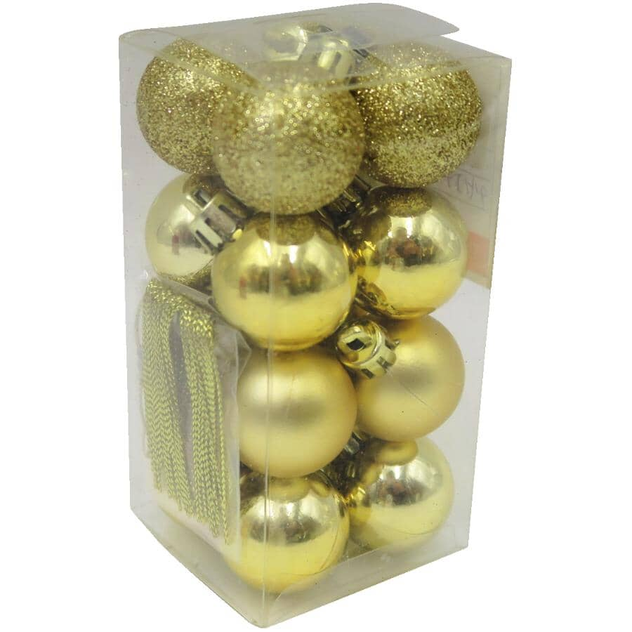 INSTYLE HOLIDAY:16 Pack 30mm Plastic Ornaments - Gold