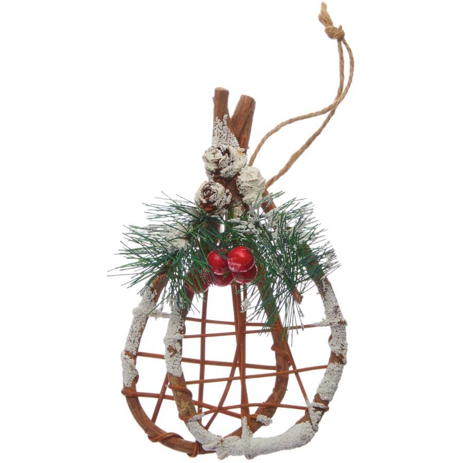 """CHRISTMAS TRADITION:Wood Snowshoes Ornament - 6.25"""""""