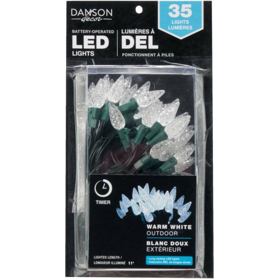 DANSON DECOR:Jeu de 35 lumières à DEL C6 blanc chaud fonctionnant à pile