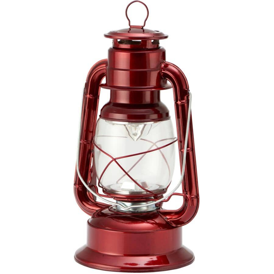 KOPPERS HOME:Battery Operated Hurricane Red Metal LED Lantern