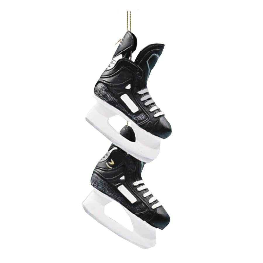 CHRISTMAS TRADITION:Décoration noire en forme de patins de hockey, 3,12 po