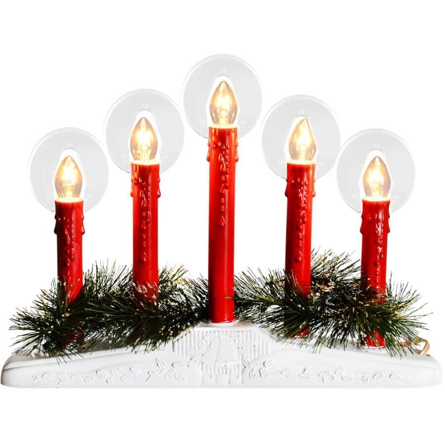 DANSON DECOR:Chandelier avec 5 chandelles rouges, ampoules à halo, avec fil