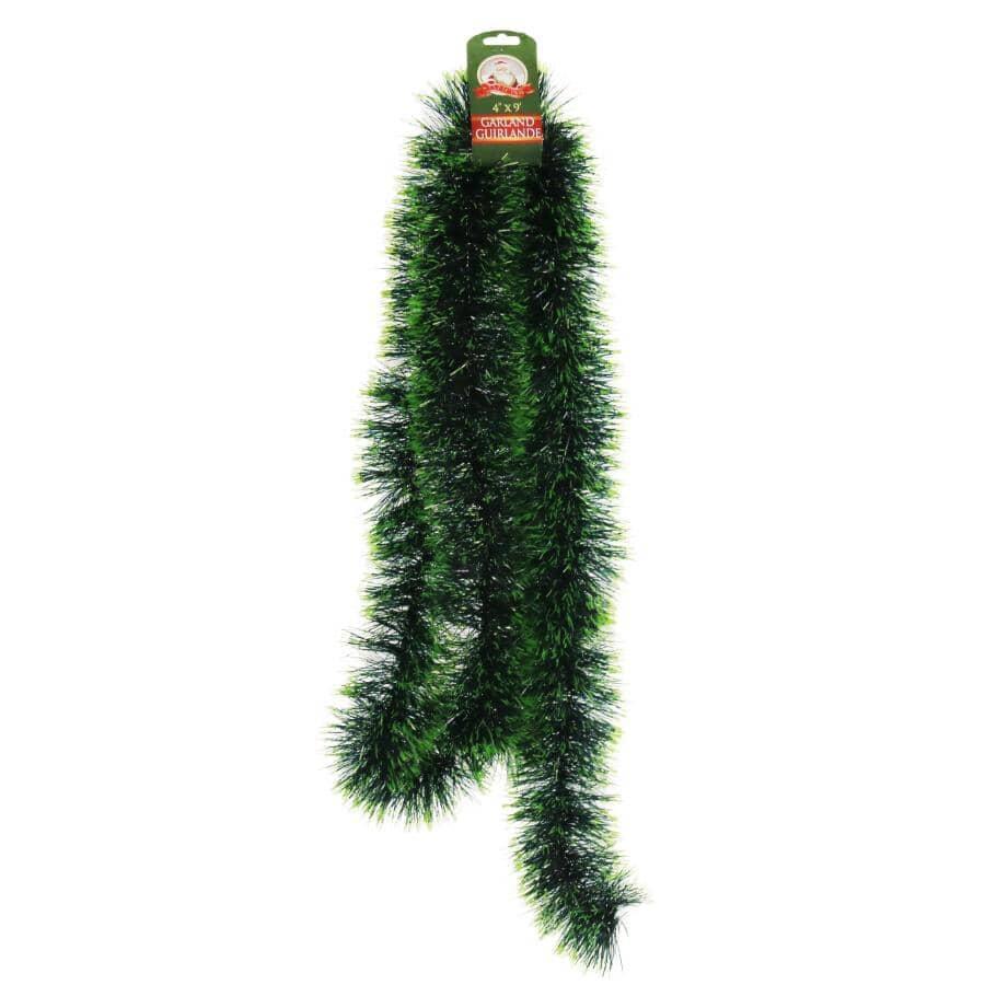 """SANTALAND:9' x 4"""" Christmas Tinsel Garland"""
