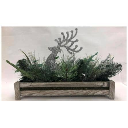 """INSTYLE HOLIDAY:14"""" Pine Box Deer Tabletop Decoration"""