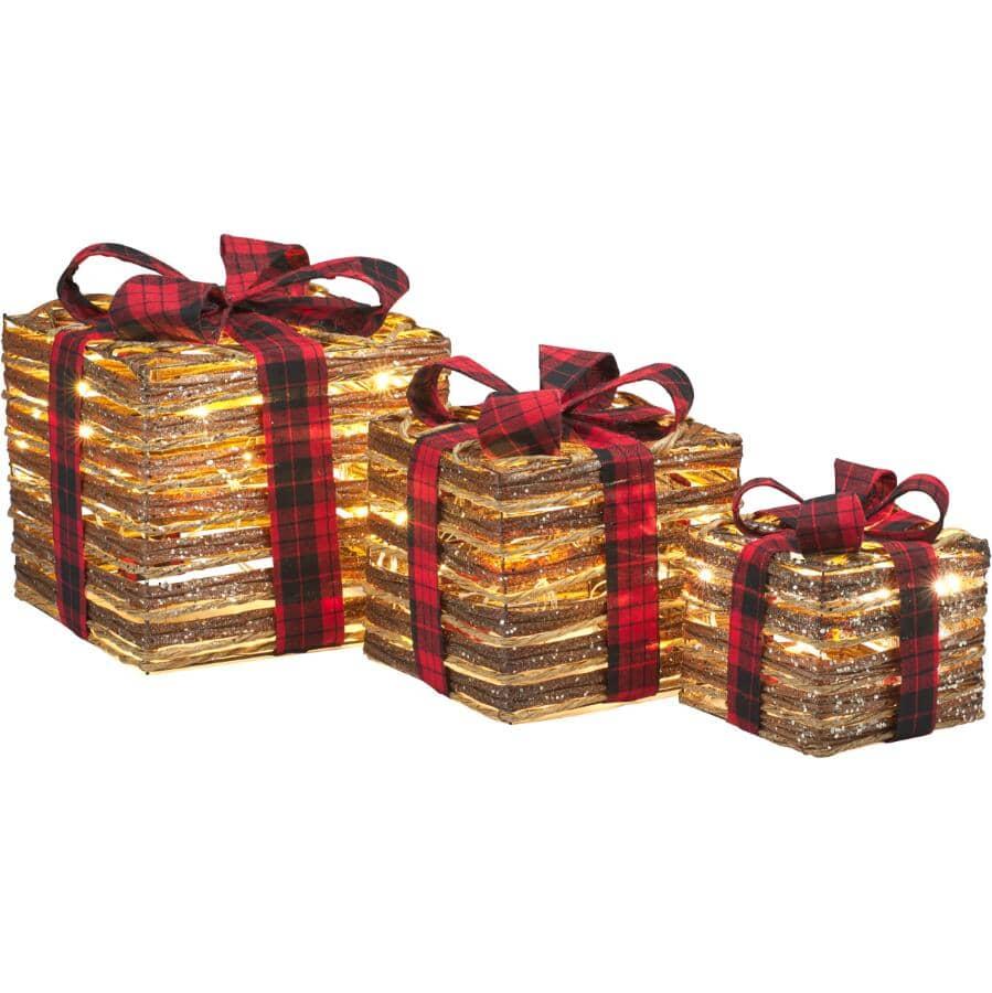 DANSON DECOR:Ensemble de coffret-cadeau scintillant avec 45 lumières à DEL fonctionnant à pile, 3 pièces