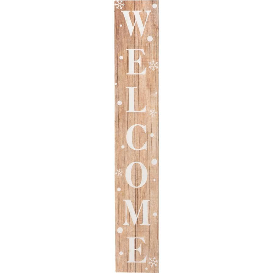 """KOPPERS HOME:Double Sided English Porch Sign - 48"""", Welcome & Let it Snow"""