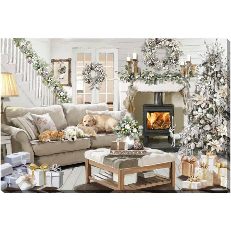 "STREAMLINE ART:Dreaming of a White Christmas Hand Embellished Wall Art - 24"" x 36"""