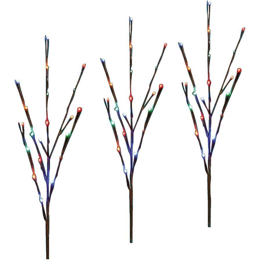 DANSON DECOR:Ensemble de 3 piquets de balise de sentier avec 60 lumières à DEL scintillantes, multicolore