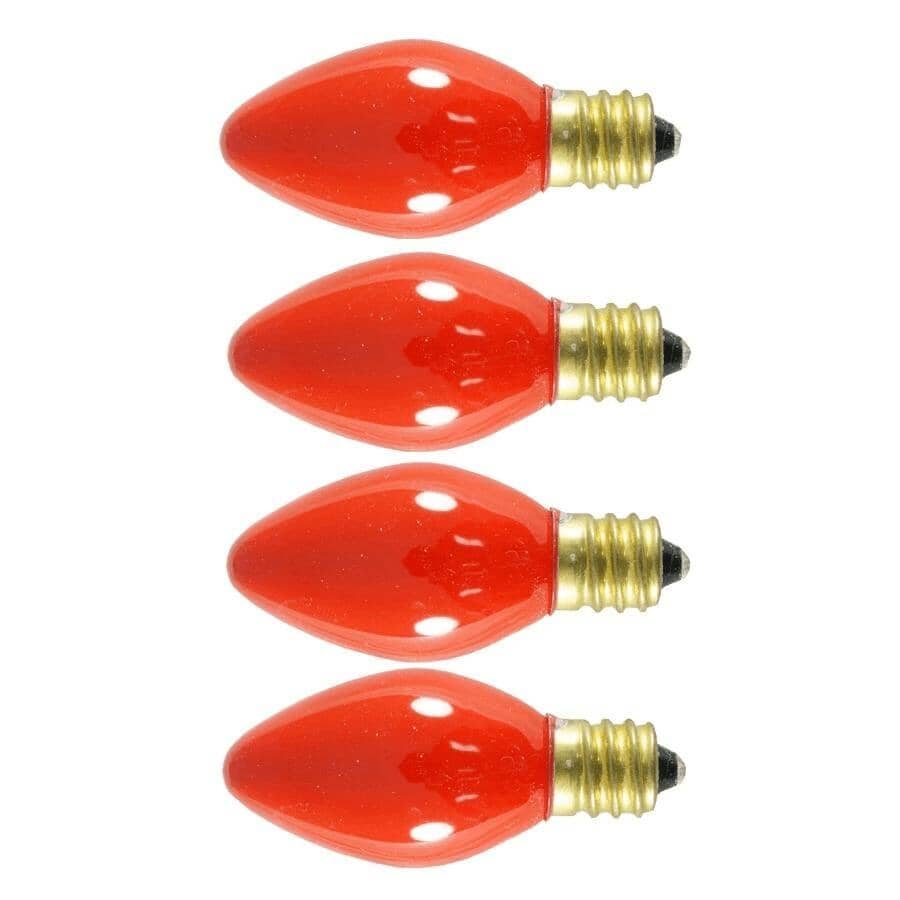 SYLVANIA:Paquet de 4 ampoules C7 incandescentes pour l'intérieur ou l'extérieur, rouge luisant