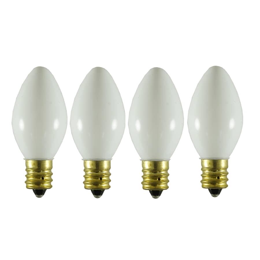 SYLVANIA:Paquet de 4 ampoules C7 incandescentes pour l'intérieur ou l'extérieur, blanc luisant