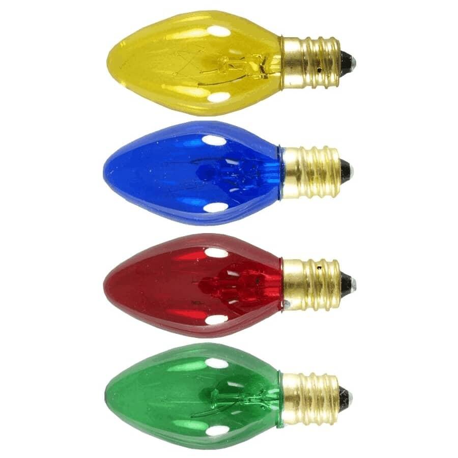SYLVANIA:4 Pack Indoor/Outdoor Incandescent Multi Coloured C7 Sparkle Bulbs