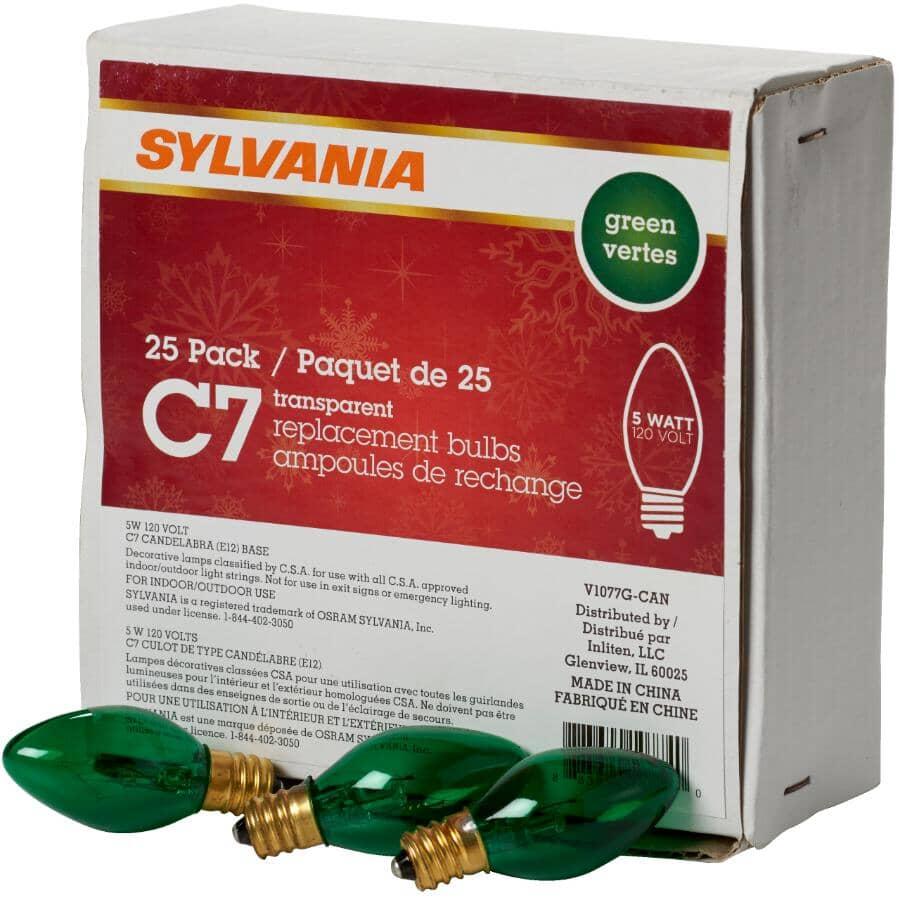 SYLVANIA:Paquet de 25 ampoules C7 incandescentes pour l'intérieur ou l'extérieur, vert étincelant