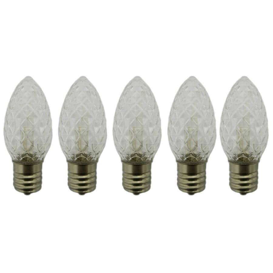 INSTYLE HOLIDAY:Paquet de 5 ampoules de rechange C9 à DEL, blanc chaud