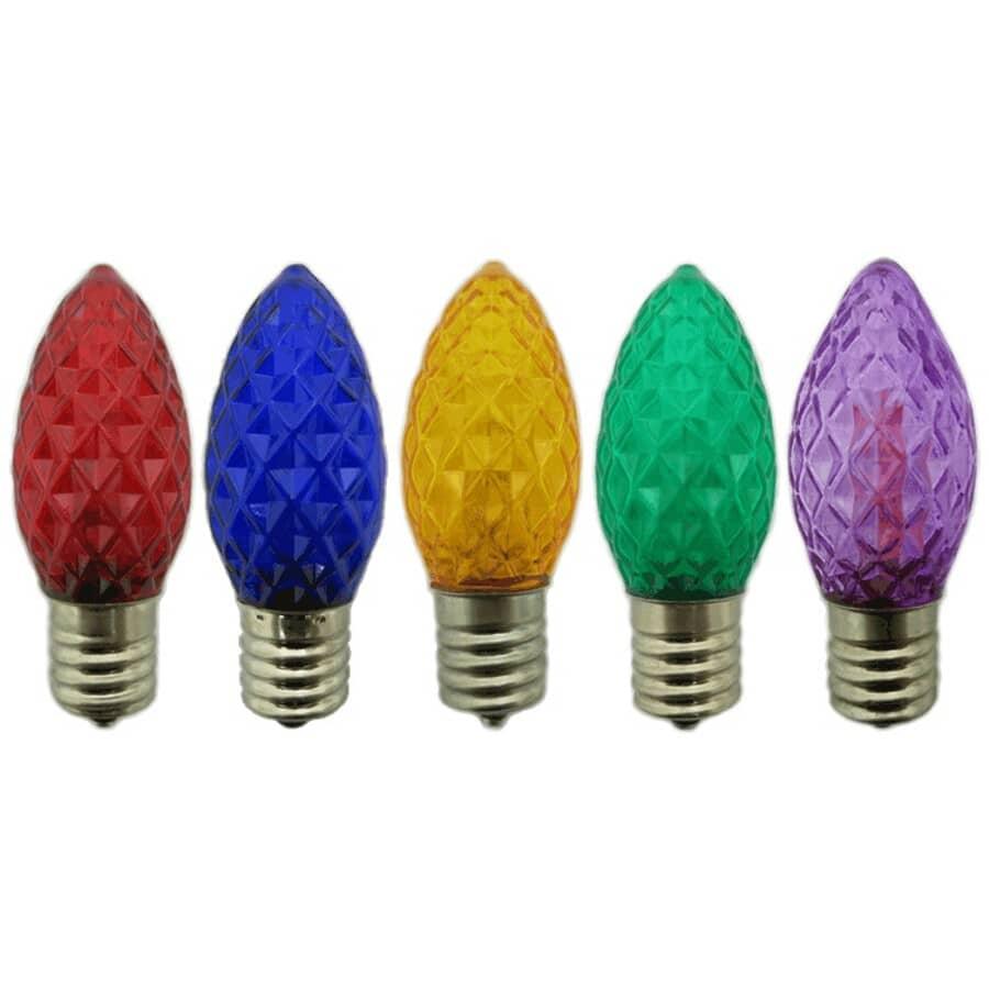 INSTYLE HOLIDAY:Paquet de 5 ampoules de rechange C9 à DEL, multicolore