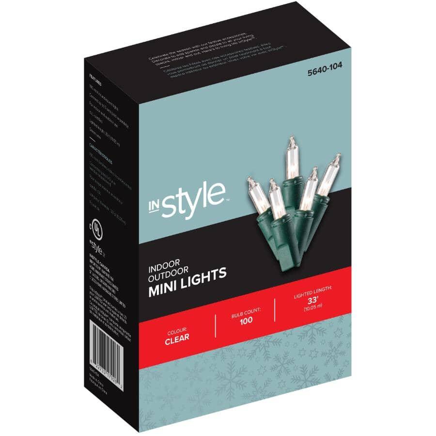 INSTYLE HOLIDAY:Jeu de 100 lumières miniatures incandescentes sur fil vert, transparent