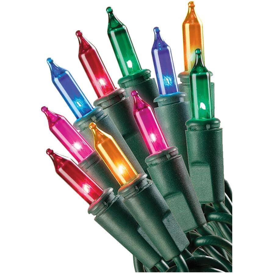 INSTYLE HOLIDAY:Jeu de 100 lumières miniatures incandescentes sur fil vert, multicolore