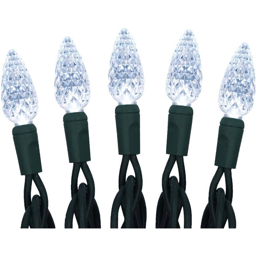 INSTYLE HOLIDAY:210 LED White C6 Light Set, with Green Wire
