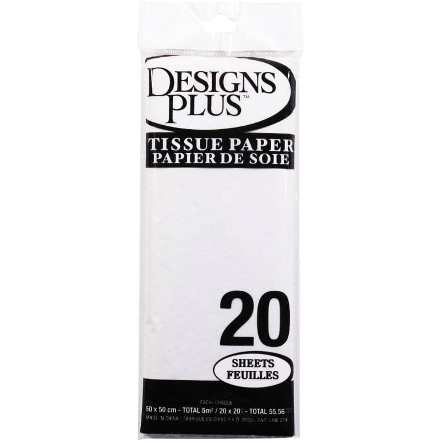 DESIGNS PLUS:Paquet de 20 feuilles de papier de soie de 20 po x 20 po, blanc