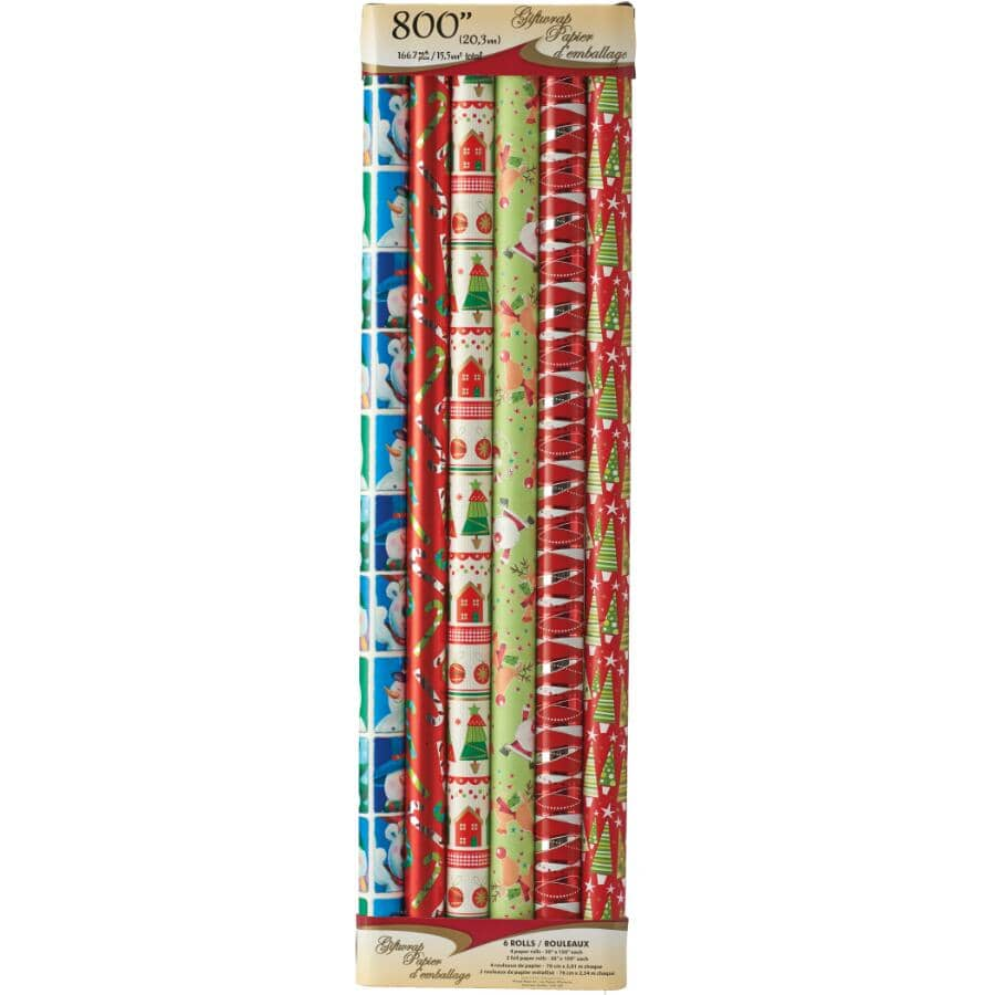 """WINNIE:30"""" Foil Gift Wrap - 6 Pack, Assorted Designs and Lengths"""