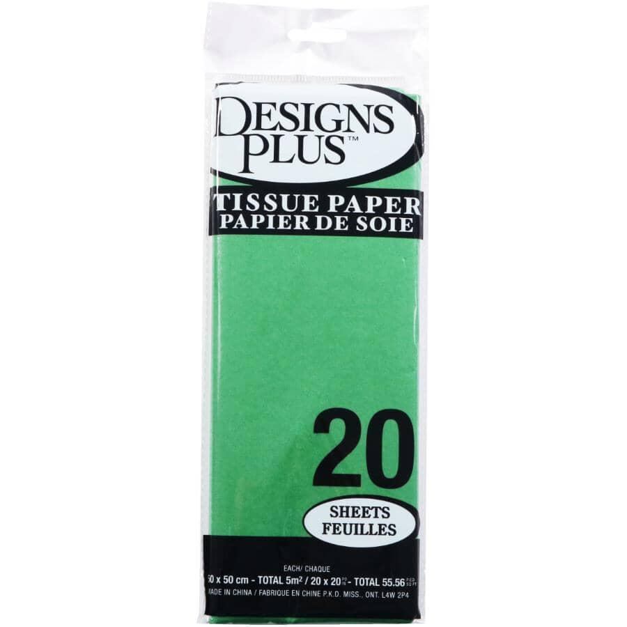 DESIGNS PLUS:Paquet de 20 feuilles de papier de soie de 20 po x 20 po, vert
