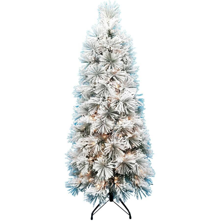 INSTYLE HOLIDAY:5' Flocked Juneau Christmas Tree - with 300 Clear Lights