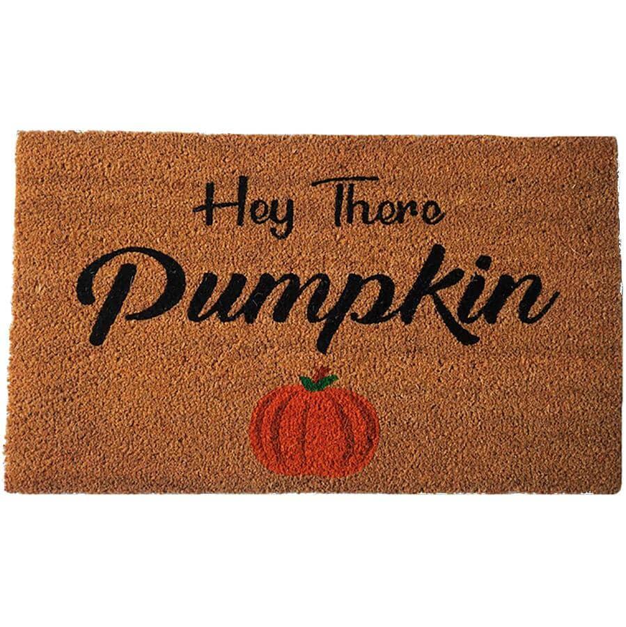"KOPPERS HOME:Hey There Pumpkin Coir Mat - 18"" x 31"" + Rubber Back"