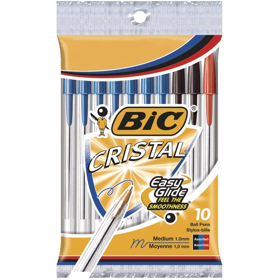 BIC:Cristal Easy Glide Medium Point Pens - Blue, Black & Red, 10 Pack