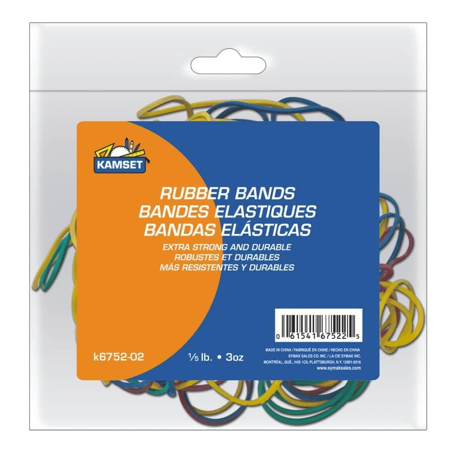 KAMSET:Paquet de 3 oz d'élastiques multicolores en caoutchouc