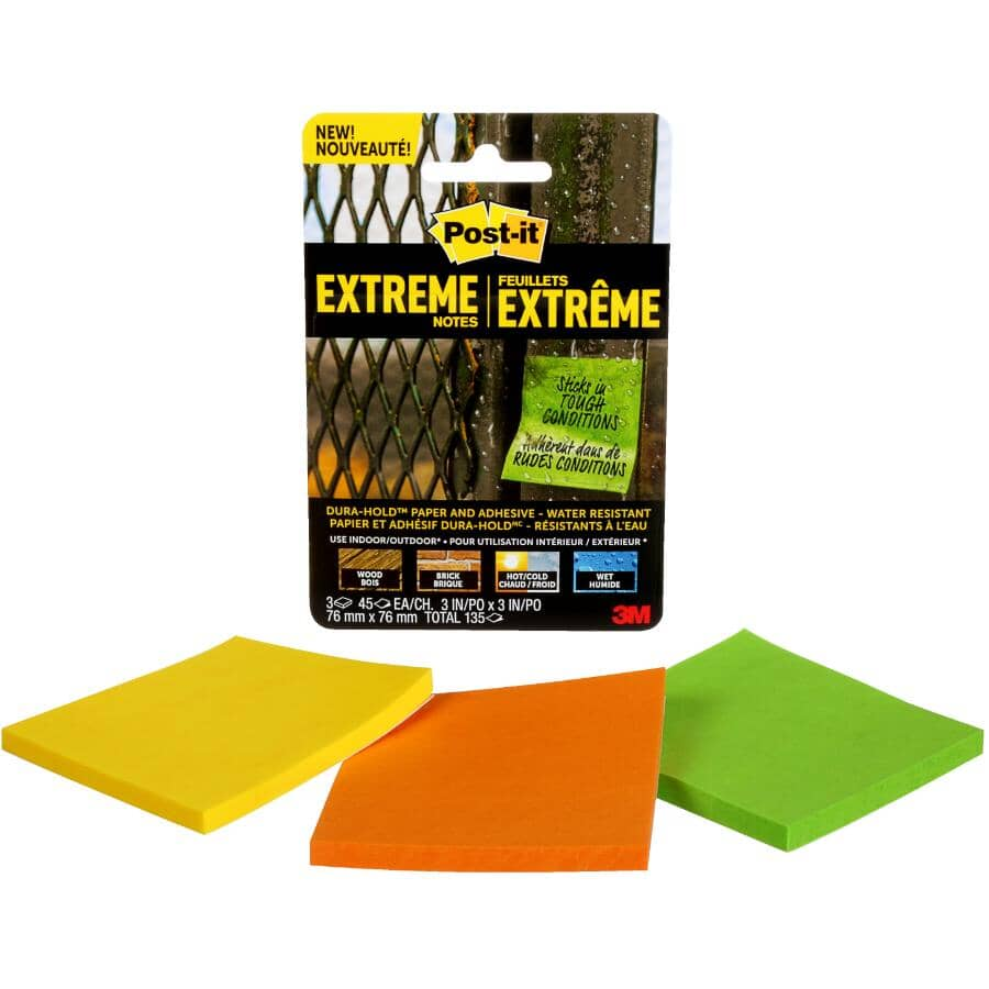 3M:Extreme Post-It Note Pads - 3 Pack