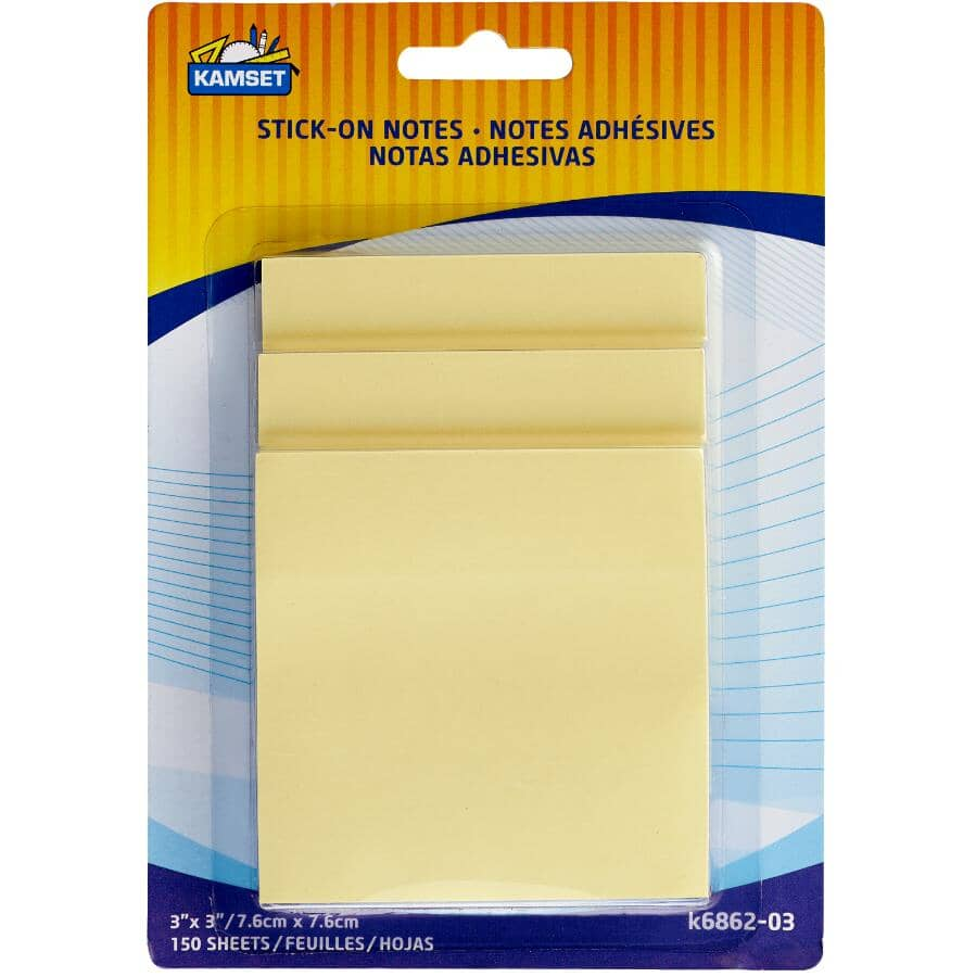 """KAMSET:Sticky Note Pads - Yellow, 3"""" x 3"""", 3 Pack"""