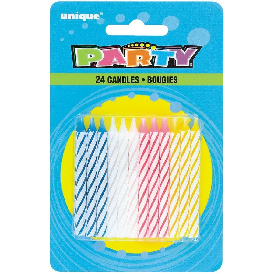 UNIQUE:Spiral Birthday Candles - 24 Pack