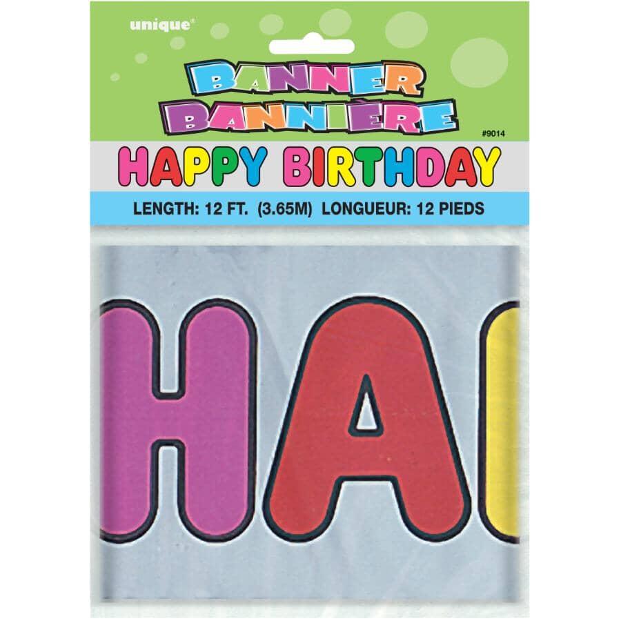 UNIQUE:Happy Birthday Foil Banner - 12'