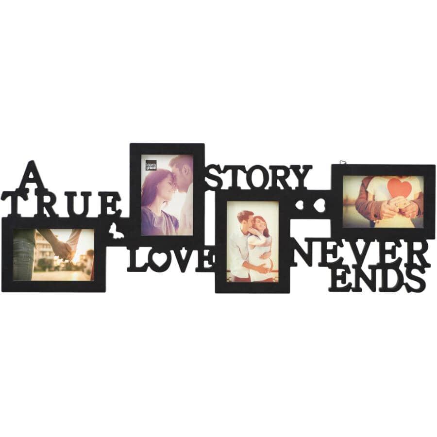 KIERA GRACE:Collage de cadres-photos True Love de 4 po x 6 po, noir