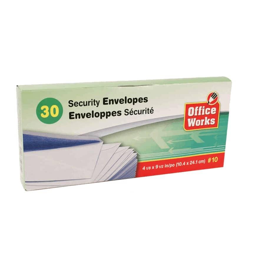 OFFICE WORKS:Security Envelopes - #10, 30 Pack