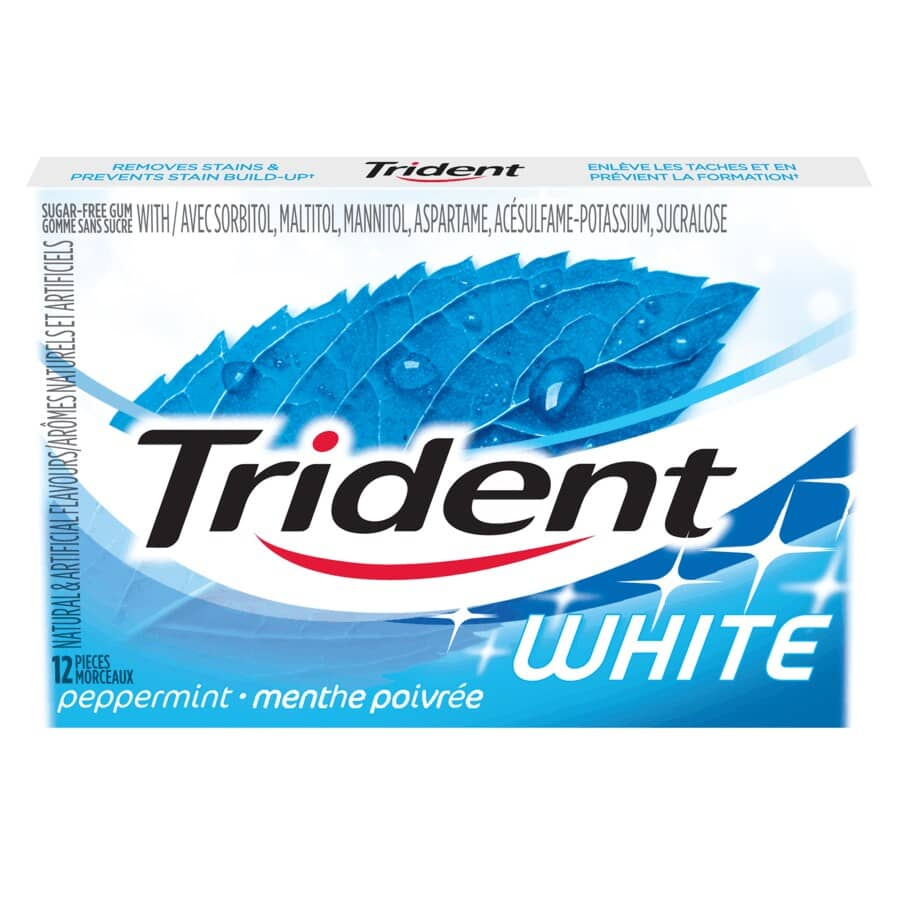 TRIDENT:White Peppermint Gum - 12 Pieces