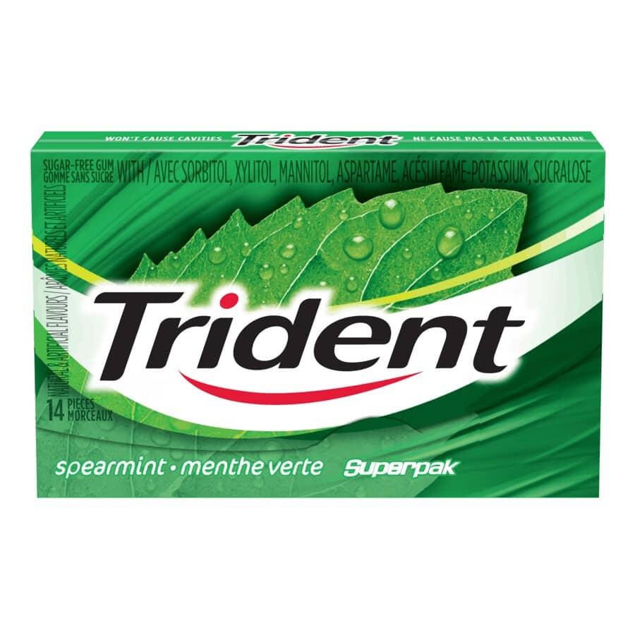 TRIDENT:Spearmint Superpack Gum - 14 Pieces