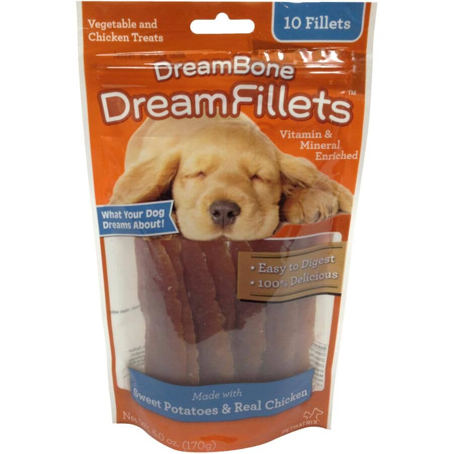 DREAMBONE:Paquet de 10 friandises au poulet et à la patate douce Dream Fillets