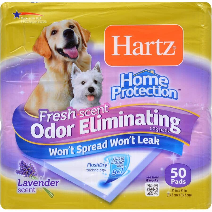 HARTZ:Paquet de 50 tapis d'entraînement désodorisants au parfum de lavande, 21 po x 21 po