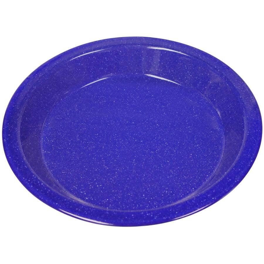 "WORLD FAMOUS:10"" Blue Enamel Camping Pie Plate"