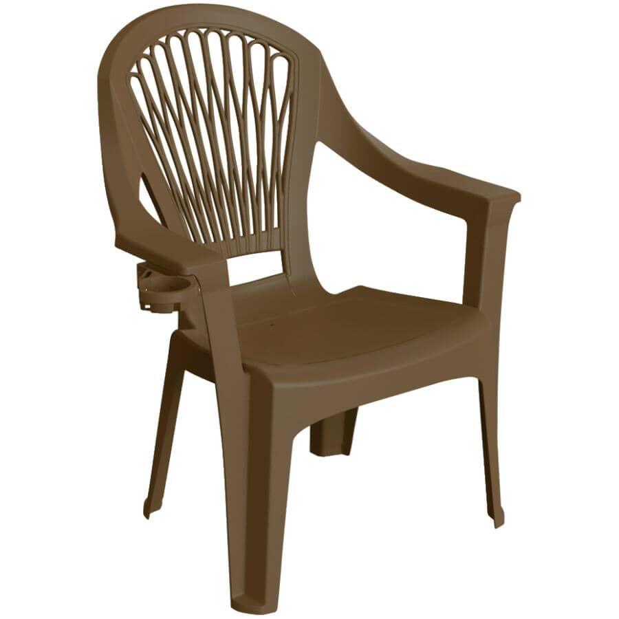 ADAMS:Earth Brown Big Easy Resin Hi-Back Stacking Chair