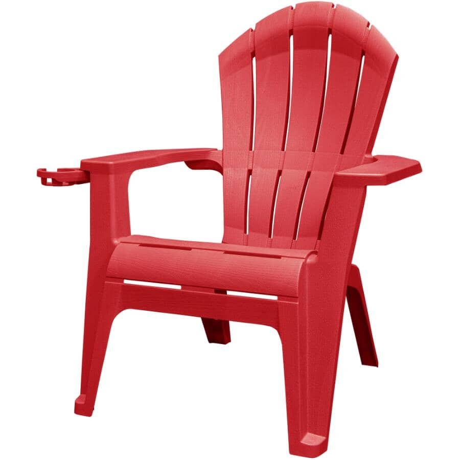 ADAMS:Cherry Red Stacking Ergonomic Adirondack Chair - with Cup Holder