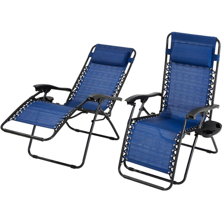INSTYLE OUTDOOR:Sling Zero Gravity Chairs with Trays - Blue, 2 Pack