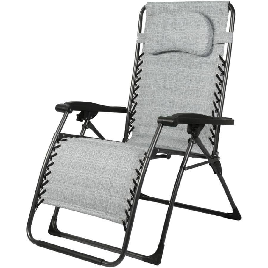 INSTYLE OUTDOOR:Grey Oversized Padded Zero Gravity Chair