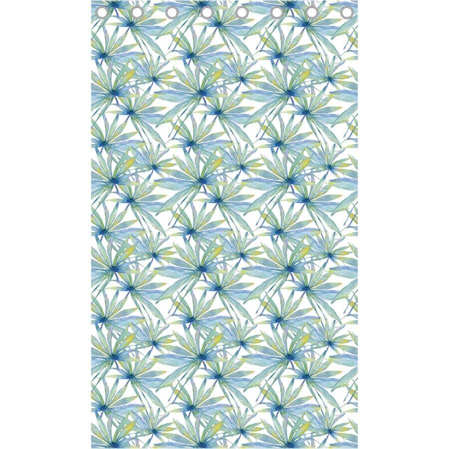 "OUTDOOR DECOR:50"" x 96"" Blue Foliage Grommet Outdoor Curtain"
