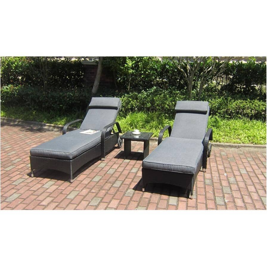 HENRYKA:Wicker Lounge Set - Black/Grey, 3 Piece