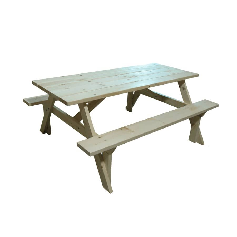 4B WOOD PRODUCTS:6' Outdoor Pine Wood Picnic Table - Unfinished